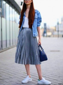 Blue Elastic Waist Sweet Skirt