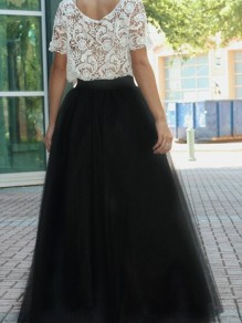 Black Grenadine Draped Fluffy Puffy Tulle High Waisted Sweet Tutu Maxi Skirt