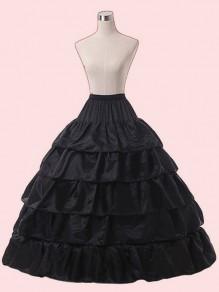 Black Ruffle Drawstring Waist High Waisted Fashion Skirt