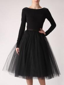 Jupe mi-longue tutu en tulle plissé taille élastique élégant noir femme