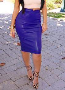 Mi-longue jupe crayon simili cuir moulante sexy mode femme bleu