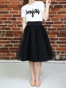 Black Mesh Grenadine Draped Fluffy Puffy Tulle High Waisted Tutu Midi Skirt