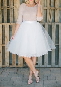 White Plain Mesh Grenadine Draped Fluffy Puffy Tulle High Waisted Tutu Midi Skirt