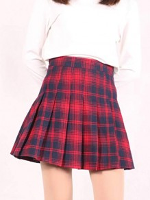 Red Plaid Pleated A Type Cute Girl Homecoming Mini Skirt