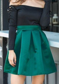 Green Draped High Waisted Zipper Above Knee Skirt