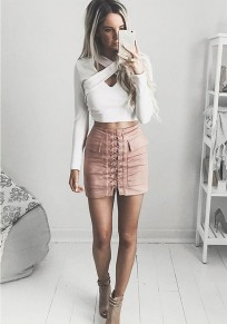Pink Drawstring Pockets Above Knee Going out Skirt