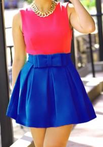 Blue Bow Pleated Zipper High Waisted Sweet Skirt
