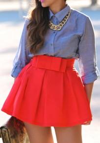 Jupe courte évasée plissé avec noeud papillon taille haute élégant femme rouge