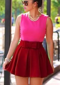 Burgundy Pleated Tutu Bow High Waisted Sweet Party Skirt