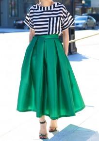 Jupe longue patineuse plissé tutu culotte haute femme mode vert