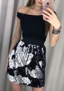 Jupe courtes en paillette haute cintrée femme mode noir et argent