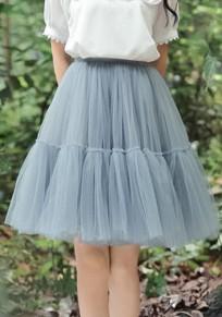 Graue Drapierte Knielang High Waisted Tutu Puffy Damen Mode Süße Tüllrock Midirock Petticoat