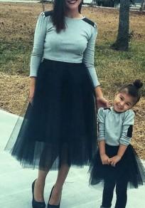Mi-longue jupe plissé taille élastique tutu en tulle élégant noir femme