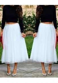 Mi-longue jupe plissé taille élastique tutu en tulle élégant blanc femme