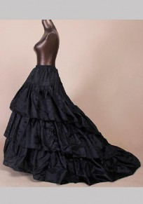 Black Cascading Ruffle Elastic Waist High Waist Petticoat Wedding Tutu Sweet Skirt