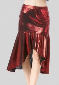 Jupe manches volantées fermeture éclair haute taille rouge lie de vin