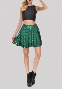 Green Mid-rise Skinny Mermaid Scale Sparkly Party Skirt