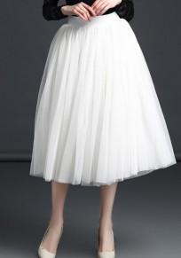 White Grenadine Draped Tutu Prom Evening Party Elastic Waist High Waist Sweet Skirt