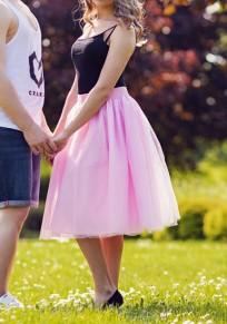Mi-longue jupe plissé taille élastique tutu en tulle mode femme rose