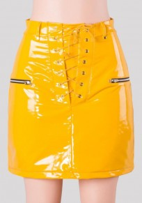 Yellow Drawstring Zipper High Waist PU Leather Pencil Skirt