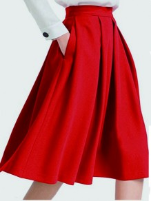 Red Draped Pockets Tutu High Waisted Elegant Party Skirt