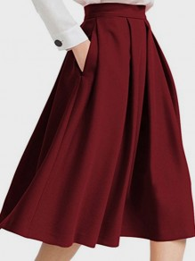Burgundy Draped Pockets Tutu A-Line Skater High Waisted Elegant Party Skirt