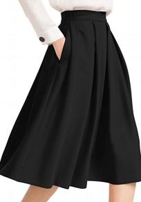 Jupe midi évasée avec poches plissé élégant femme noir