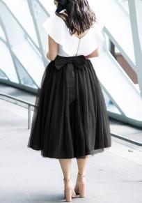 Mi-longue jupe bouffante tutu en tulle avec noeud papillon élégant femme noir