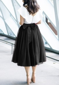 Falda adina pajarita plisada tul tutú cintura alta dulce negro