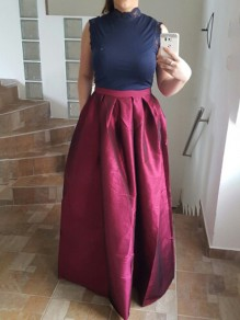 Burgundy Pleated Elastic Waist High Waisted Elegant Prom Evening Party Skirt