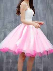 Rosa Weiß Bindegürtel Schleife Partei Entzückende Tutu Elegant Minirock Tüllrock Damen