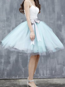Light Blue-White Grenadine Pleated Bow Sashes Tulle Tutu High Waisted Skirt