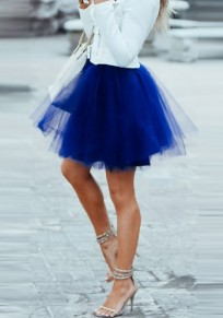 Royal Blue Patchwork Grenadine Pleated Plus Size Fluffy Puffy Tulle Cute Skirt