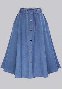 Light Blue Draped Single Breasted Tutu High Waisted Casual Skirt