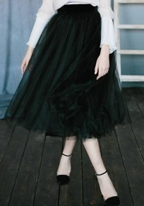 Black Grenadine Pleated Fluffy Puffy Tulle Tutu High Waisted Homecoming Party Cute Skirt