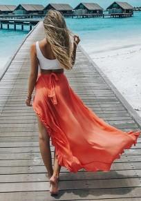 Orange Patchwork Irregular Ruffle Belt Fashion Strand Maxi Skirt