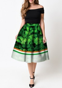 Green Striped Leaves Pattern St. Patrick's Day High Waisted Skater Tutu Flare Skirt