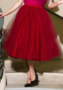 Red Grenadine Pleated Fluffy Puffy Tulle Sweet Cute Homecoming Party Midi Skirt