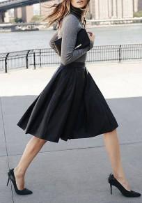 Jupe mi-longue patineuse plissé taille haute mode élégant femme noir