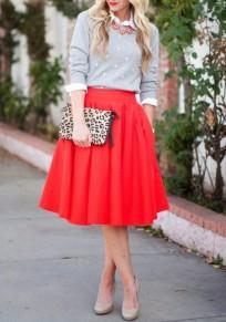Mi-longue jupe patineuse trapèze plissé culotte haute mode rouge femme