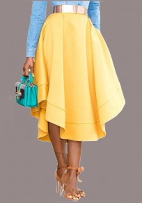 Yellow Pockets Pleated High Waisted Going out Casual Skirt