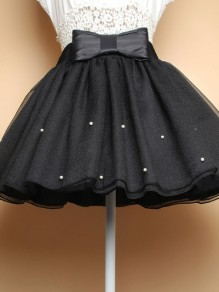 Black Patchwork Pearl Bow Elastic Waist Above Knee Skirt