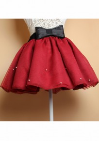 Wine Red Patchwork Pearl Bow Elastic Waist Above Knee Skirt