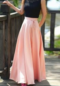 Pink Sashes Draped Elastic Waist High Waisted Bohemian Long Skirt