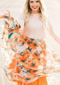 Orange Sunflower Print Grenadine Draped Flowy High Waisted Bohemian Las Vegas Skirt