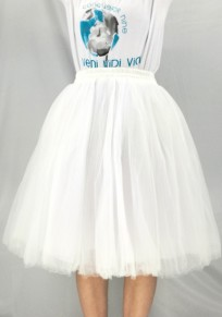 White Patchwork Grenadine Fluffy Puffy Tulle Tutu Sweet Skirt