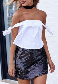 Black Patchwork Sequin Glitter Sweet Cute Clubwear Party Skirt