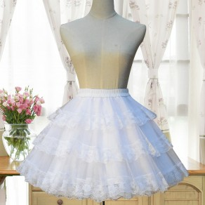 White Pleated Lace Grenadine Fluffy Puffy Tulle Sweet Skirt