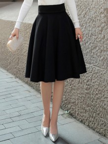 Black Draped Plus Size Hepburn Elegant High Waisted Skirt