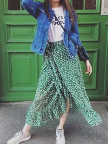 Green Flower Print Ruffle Sashes Irregular High Waisted Flowy Sweet Party Skirt